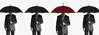 Men with umbrellas