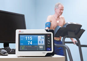 Cardiac stress blood pressure monitor